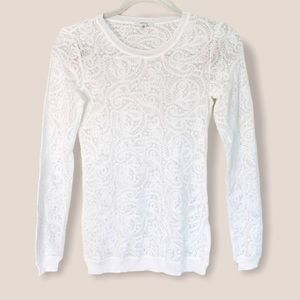 Aritzia Wilfred White Lace Top Size XS